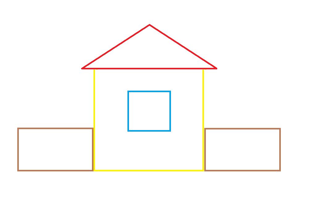 картинка раскраска домик из геометрических фигур включено, меню, только